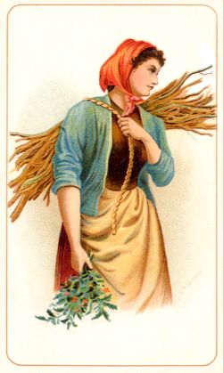 Woman with sticks and holly
