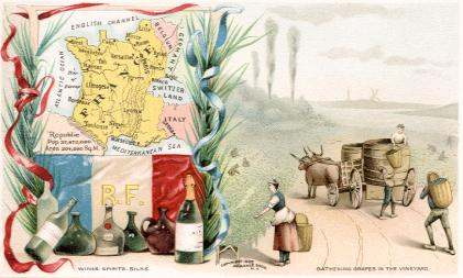 France map - Wines, Spirits, Silks; Gathering Grapes in the Vineyard