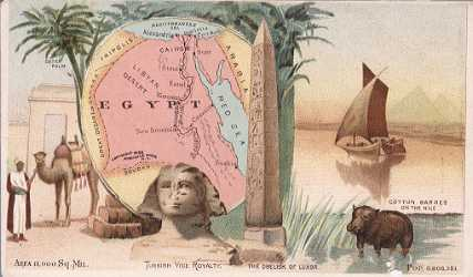 Egypt map - Date Palm; The Obelisk of Luxor; Cotton Barges on the Nile