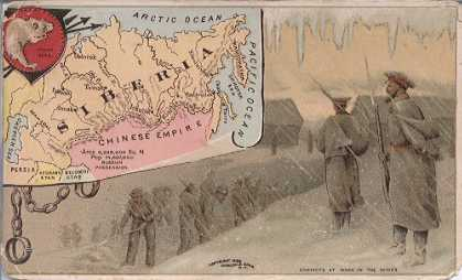 Siberia map - Polar Bear; Convicts at Work in the Mines