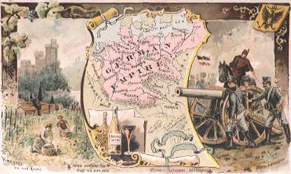 Germany map - Vineyard on the Rhine; Rhine Wine; Field Artillery
