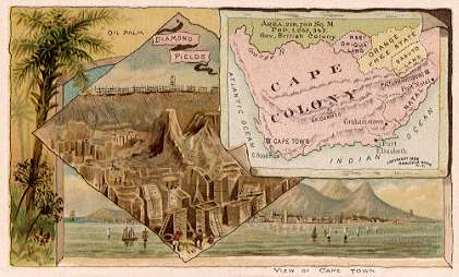 Cape Colony map - Oil Palm; Diamond Fields; View of Cape Town