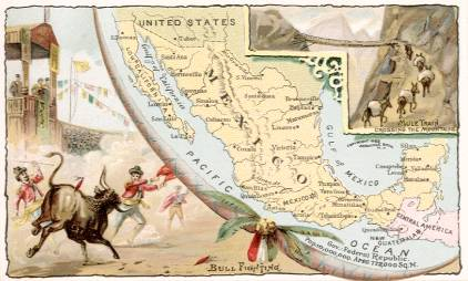 Mexico map - Bull Fighting; Mule Train