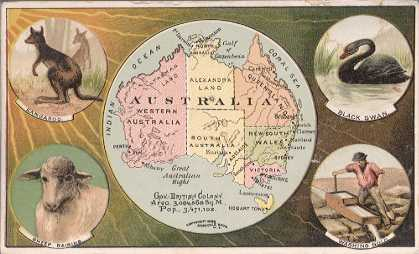 Australia map - Kangaroo; Sheep Raising; Black Swan; Washing Gold