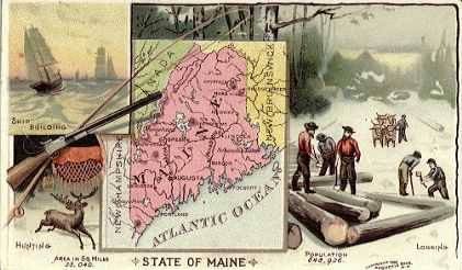Maine map - Ship Building, Hunting, Logging