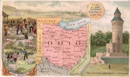 Ohio map - Wool growing, sheep shearing, Garfield Monument