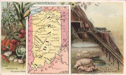 Indiana map - Farm products, hogs, coal mining