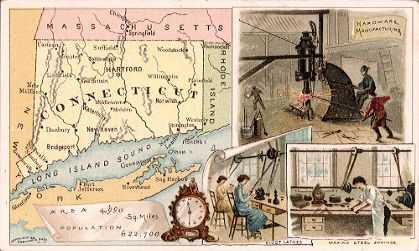 Connecticut map - Hardware manufacturing, clock making, pivot lathes, making steel springs