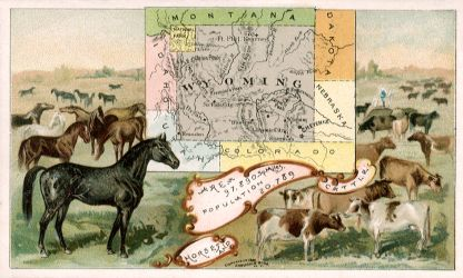 Wyoming map - Horses and cattle