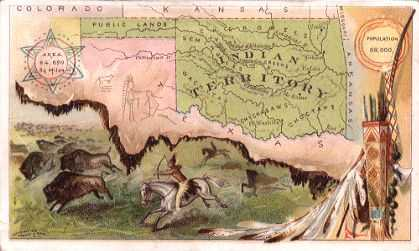 Indian Territory / Oklahoma map - Buffalo hunt