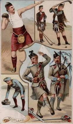 Scotland - golf, curling, shot putting, sword dance
