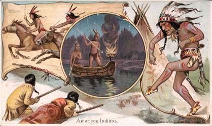 American Indian - horse racing, hunting buffalo, canoeing, war dance