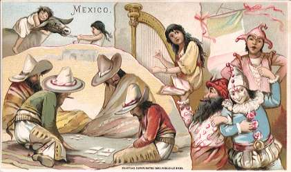 Mexico - burro riding, gambling, harp playing, masked ball