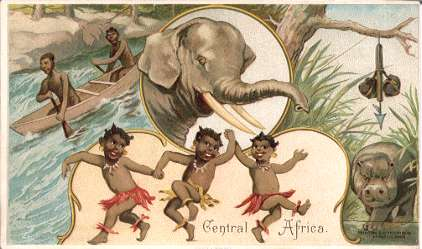 Central Africa - elephant, hippopotamus hunting, shooting rapids, dancing children