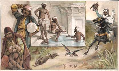 Persia - coaxing alms, bathing, hawking, hunting