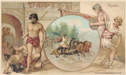 Rome - gladiators, chariot racing, embroidering, discus throwing