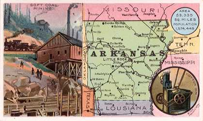 Arkansas map - Soft Coal Mining; Cotton Gin