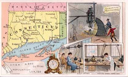 Connecticut map - Hardware Manufacturing; Clock Making; Pivot Lathes; Making Steel Springs