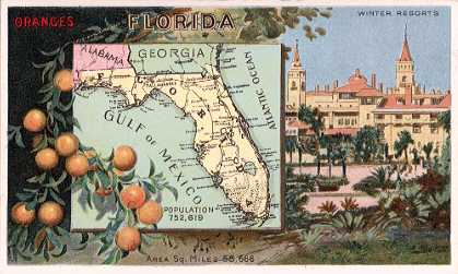 Florida map - Oranges; Winter Resorts