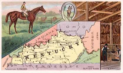 Kentucky map - Thoroughbred horses, Blue Grass Region; Tobacco