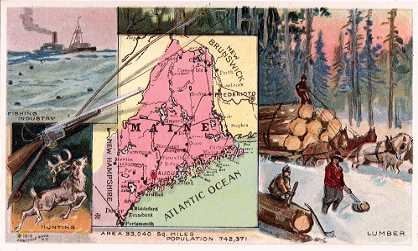 Maine map - Fishing Industry; Hunting; Lumber