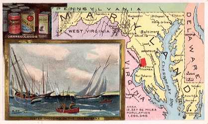 Maryland map - Canned Goods; Oyster Dredging on the Chesapeake