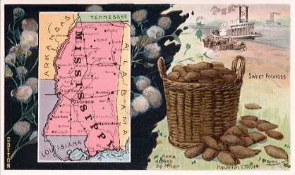 Mississippi map - Cotton; Sweet Potatoes