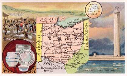 Ohio map - Sheep Shearing; Pottery; Perry Memorial