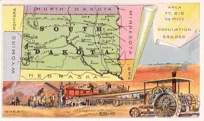 South Dakota map - harvesting wheat