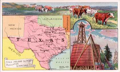 Texas map - Cattle; Oil