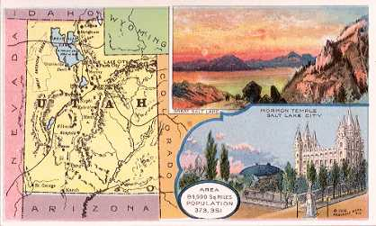 Utah map - Great Salt Lake; Mormon Temple Salt Lake City
