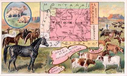 Wyoming map - Sheep, Horses and Cattle