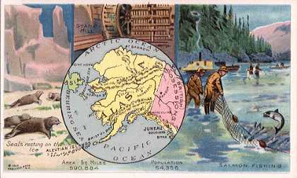 Alaska map - Seals resting on the ice; Stamp Mill; Salmon Fishing