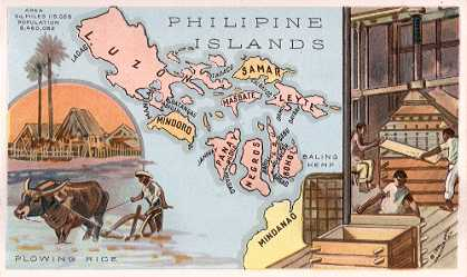 Philippine Islands map - Plowing Rice; Baling Hemp