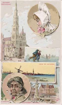 Antwerp, Holland - Antwerp Cathedral; Fish Market