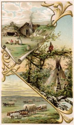 Indian Territory / Oklahoma - Boomer's Home; Indian, Tepee; Rush Across the Border
