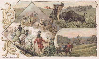South Dakota - Old-Time Buffalo Hunt; First Settlement, Sioux Falls; Indians Attacking Deadwood Stage
